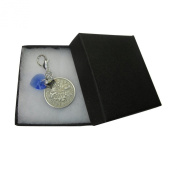 Handmade Wedding Something Blue Gift for the Bride. Elements Sapphire Heart Charm & Lucky Sixpence