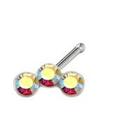 Sterling Silver 2.2mm Aurora Trio Nose Bone Created with. Crystals