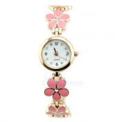 Yidarton Women Girl Chic Fashion Daisies Flower Rose Golden Bracelet Wrist Watches