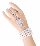 Babeyond® The Great Gatsby Inspired Flower Pattern Simulated Pearl Bracelet Ring Set