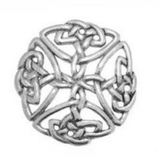 Pewter Large Celtic Open Knot Badge pin or Brooch Gift for Scarf, Tie, Hat, Coat or Bag