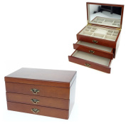 Solid Wooden Jewellery Box with Classic Walnut Finish by Mele & Co