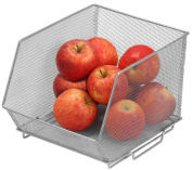Mesh Stacking Bin Silver (Sold As 1 Bin) Storage Containers Great for Food, Crafts, Cleaning or Pantry Items