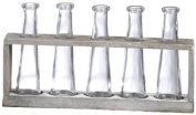 Creative Co-Op Distressed Grey Vase Holder with Glass Vases