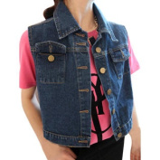 Women's Point Collar Button Down Slim Fit Denim Cropped Vest