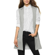 Women's Sleeveless Split Back Double Breasted Long Vest Grey