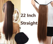 """22""""(55cm) Straight Binding Tie up Ponytail Clip in Hair Extensions One Piece Wrap Around"""