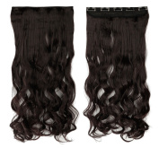 """Real Fibre Hairstyle 24""""(60cm) Wavy Curly Dark Brown Hairpiece 3/4 Full Head One Piece 5 Clips Clip in Hair Extensions"""