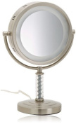 Jerdon HL856MNC 20cm Halo Lighted Vanity Mirror with 6x Magnification, Nickel Finish by Jerdon