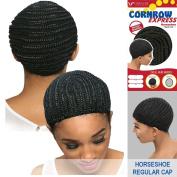 Vivica A. Fox - CORNROW EXPRESS CAP - Horseshoe-SMALL Mesh Weave Cap in OFF BLACK