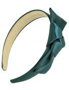 Dahlia Girl's Satin Headband - Holiday Ribbon Bow - Green