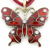 Gold Tone Enamelled Butterfly Crystal Necklace