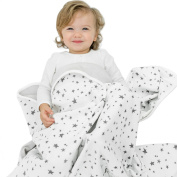Woolino Toddler Blanket, Merino Wool, 4 Season Dream Blanket, 130cm x 100cm , Stars