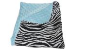 Jojo's Boutique Zebra Blue Minky Baby Blanket 80cm W x 90cm L