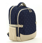 Nappy Bag Travel Large Capacity Backpack for Mom, Blue+Khaki Dots