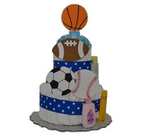 Sports Theme Baby Boy Nappy Cake (2 Tier) - Baby Shower Centrepiece/ New Baby Gift/ Welcome Baby Gift