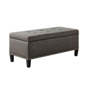 Madison Park Shandra II Tufted Top Storage Bench Charcoal See below
