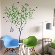 Spring Tree with Bridcage (Grey and Lime Tree Green) - Beautiful Tree Wall Decals for Kids Rooms Teen Girls Boys Wallpaper Murals Sticker Wall Stickers Nursery Decor Nursery Decals