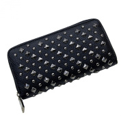 Sanwood Faux Leather Cool Fashion Women Punk Style Spike Handbag Rivet Studded Long Wallet Phone Bag