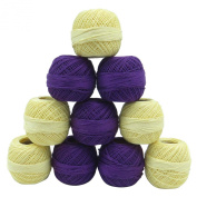 Crochet Yellow Blue Cotton Embroidery Yarn Thread Skein Tatting Lot of 10 Pcs