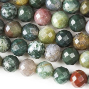 Large Hole 2.5mm Drilled 10mm Fancy Jasper Beads Faceted Round - 8 Inch Strand