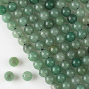 Large Hole 2.5mm Drilled Green Aventurine Beads 8mm Smooth Round - 8 Inch Strand