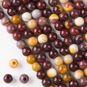 Large Hole 2.5mm Drilled Mookaite Beads 8mm Smooth Round - 8 Inch Strand