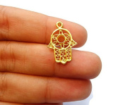 Foxy Findings Hamsa Collection Small Khamsa Hand of Fatima 24k Gold Plated Brass Connector Charms 20mm Set of 5