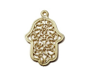 Foxy Findings Hamsa Collection Large Hand of Fatima Matte Finish 24k Gold Plated Brass Filagree Pendant 45mm Set of 1