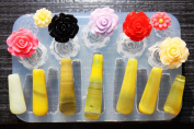 Clear silicone pendants,roses mould,14pc. Pendants size