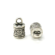 Pack 10 x Antique Silver Tibetan 10 x 16mm Kumihimo Patterned End Caps - (HA11545) - Charming Beads