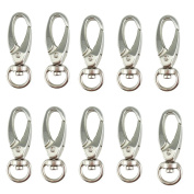 Yueton® Pack of 20 D Swivel Trigger Clips Hooks Metal Key Ring Lobster Clasps