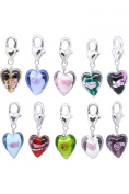 HOUSWEETY 20PC Glass Heart Clip On Charm Fit Link Bracelet