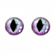 10mm Purple and Blue Pastel Cat or Dragon Glass Eyes Fantasy Cabochons for Art Doll Taxidermy Sculptures or Jewellery Making Set of 2