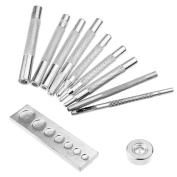 Sumnacon Leathercraft Rivets Setter Tools - 11 Pcs Die Punch Snap Kit with Hollow Punch and Universal Setter Base for Punch Hole and Instal Snap Fasteners, Press Studs, Rivet, Grommet etc