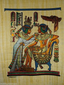 """KING TUT EATING WITH HIS WIFE ORIGINAL HAND PAINTED PAPYRUS 12""""x16"""""""