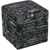 Cortesi Home Braque Black Linen Cube Ottoman