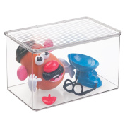 mDesign Kids/Baby Toy Storage Box for Blocks, Play Kitchen Pieces, Costumes - 18cm x 28cm x 17cm , Clear