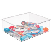 mDesign Kids/Baby Toy Storage Box for Blocks, Play Kitchen Pieces, Costumes - 33cm x 36cm x 13cm , Clear