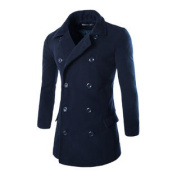 Azzuro Men's Long Sleeve Turn Down Collar Double-Breasted Casual Worsted Coat Blue