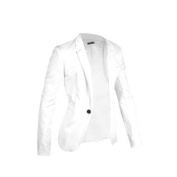 Azzuro Men's Notched Lapel Centre-Vent Back One-Button Blazer White
