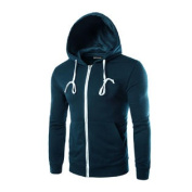 Azzuro Men's Long Sleeves Zip Up Kangaroo Pocket Casual Drawstring Hoodie Blue