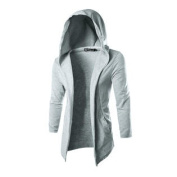 Azzuro Men's Long Sleeves Front Opening Casual Hooded Cardigan Grey