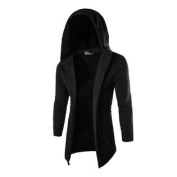 Azzuro Men's Long Sleeves Front Opening Casual Hooded Cardigan Black