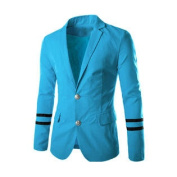 Men Notched Lapel Two Flap Pockets Casual Blazer Blue M