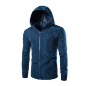 Azzuro Men's Long Sleeve Full Zipper Slim Fit Windbreaker Hoodie Jacket Blue