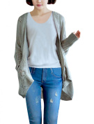 Women's Two Pockets Pure Colour Fashionable Spring Cardigan Grey
