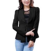 Ladies Shawl Collar Long Sleeve Hook Closure Blazer Jacket Black XS