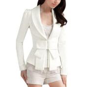 Ladies Hook Eye Closure Bowknot Decor Front Chic Thin Blazer White XS