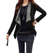 Women Convertible Collar Long Sleeve Inclined Zipper Casual Jacket Black M